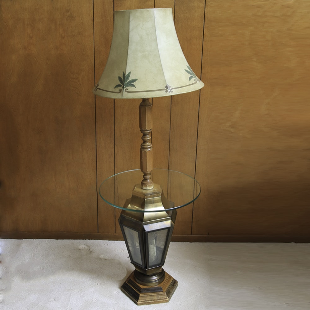 Floor Lamp With Glass Table and Lantern Base